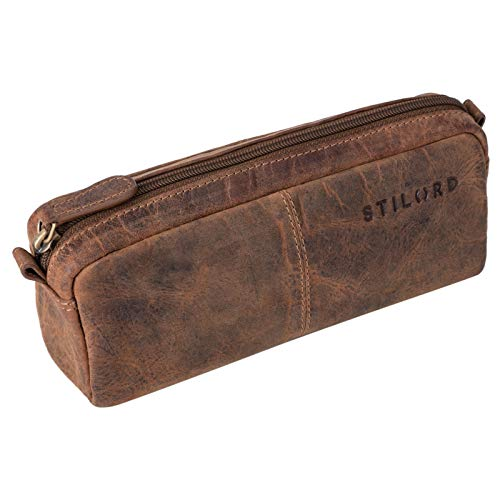 STILORD 'Spencer' Estuche para Lápices Cuero Vintage Bolsa Portatodo para Maquillaje Cartuchera de Genuino Piel, Color:Calais - marrón