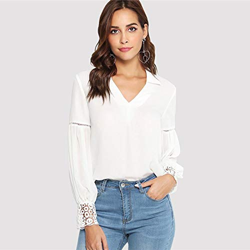 LIULINUIJ Aser Cut Insert Guipure-Spitze Manschettenbluse Weiß V-Ausschnitt Langarm Ausschnitt Tops Frauen Herbst Elegantes Workwear Shirt