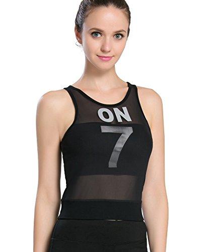 Campeak Malla Entrenamiento Fitness Deportes Compresión Tank Top con sujetador de estante integrado para mujer -  Negro -  M/etiqueta S
