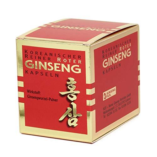 Koreanischer Reiner Roter Ginseng - 100 Wurzelpulver Kapseln | Freiverkäufliches Arzneimittel | Panax C. A. Meyer
