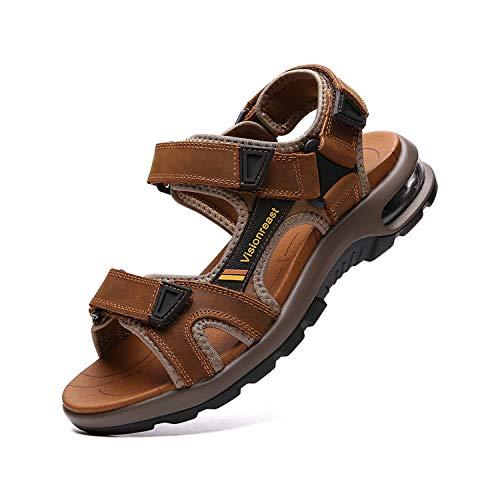 visionreast Herren Outdoor Sports Sandalen Trekking Leichte Leder Strand Wandersandalen Männer Sommer Klettverschluss Offroad Sandale Schuhe Waterproof, Braun1, 42 EU