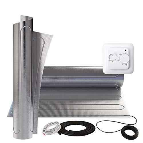 Alu Heizmatte 150Watt/m² 12m² + MST1 Thermostat Laminat Parkett Vinyl auf HDF