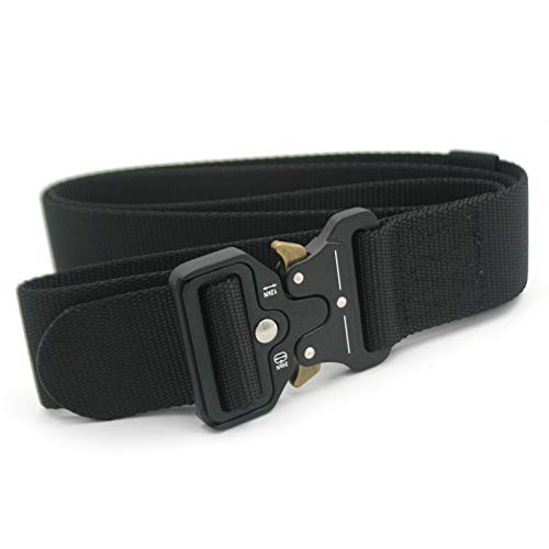 Gihunk Cobra Belt Tactical Belt, Military Style Heavy Duty Nylon Belt 1.7 inch Riggers Belt Military Webbing with Quick Release Metal Cobra Buckle (Black)
