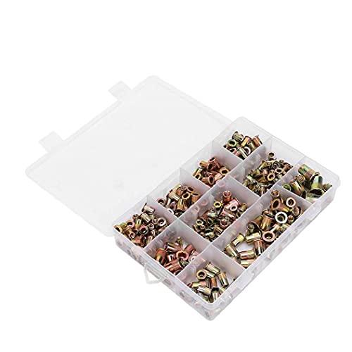 BRAVOSOLEIL Kit De Tuercas Remache Nutsert Casquillo De Acero Al Carbono De Cabeza Plana No Roscada Frutos Secos Surtido De Oro En M3 M4 M5 M6 M8 300pcs