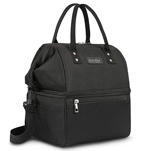 UTOTEBAG Double Deck Lunch Bag Leak Proof Insulated Lunch Box Large Cooler Tote Bag Thermal Snack Organizer with Removable Strap for Men Women Black