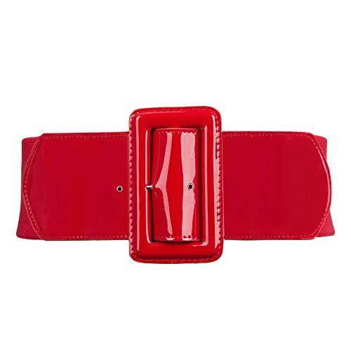 Mujer Cinturón Ancho Simple para Abrigo Vestido Rojo S
