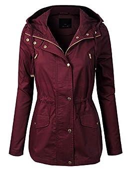 MixMatchy Women s Casual Safari Military Anorak Utility Hoodie Zip Up Jacket Burgundy S
