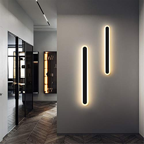 HKLY Apliques De Pared De Estilo Moderno, Luz De Tira LED Lámpara De Pared Dormitorio, Iluminación De Interior Aluminio Decoración Para Salón Sala De Estar Baño Espejo Escalera,Blakc 100cm/38w