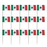 STOBOK 100 Piezas Mini Bandera de méxico Cupcake Toppers Palillos de Madera Toppers de Pastel selecciones para Suministros de Fiesta de Deportes de país Mundial