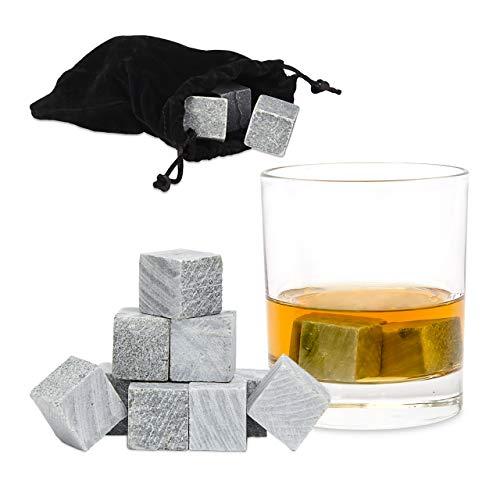 Relaxdays Whiskystenen in 9-delige set, herbruikbare ijsblokjes, koelstenen voor dranken, ijsblokjes speksteen, grijs