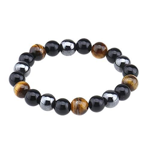 Pulsera de obsidiana ojo de tigre, energía positiva, saludable, elástica, pulsera elástica amarilla y negra, cuentas de mano de 0.39 pulgadas para hombre y mujer