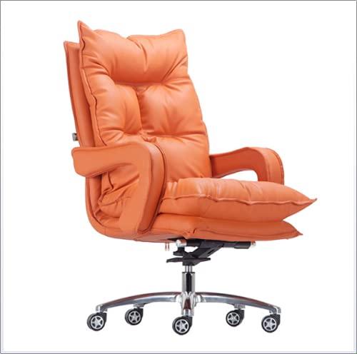 HQYXGS Silla para juegos de color rosa, silla de oficina reclinable con reposapiés, silla ergonómica para juegos de piel sintética, sillas ejecutivas para niñas y mujeres, color naranja