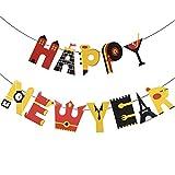 CCINEE happy new year ガーランド 新年 飾り フラッグガーランド バナー ガーランド プルフラグ 英国スタイル 新年会装飾 2020新年パーティー 新年挨拶 飾り付け お正月 飾り デコレーション