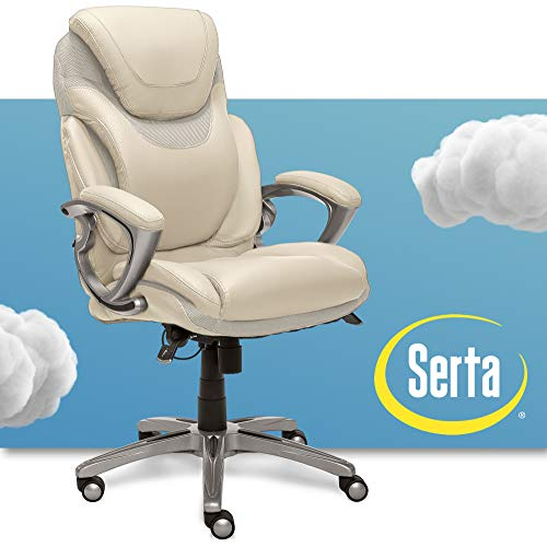 Serta AIR Health and Wellness Executive Office Chair, High Back Big and Tall Ergonomic for Lumber Support Task Swivel, Bonded Leather, Cream