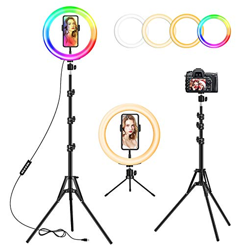10 inch Ring Light with 59'' Extendable Tripod Stand & Phone Holder, Dimmable LED Desktop Ring Lamp, 8 Colors RGB Circle light for Live Streaming, Makeup, Selfie, TikTok, YouTube Video, Zoom Meeting