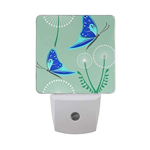 AOTISO Paardebloem met blauwe vlinders Lente bloemen Decoratief schattig Insect ontwerp Auto Sensor nachtlampje Plug in Indoor