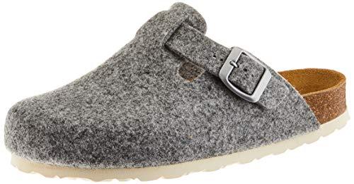 AFS-Schuhe Damen Hausschuhe geschlossen aus Filz, Bequeme, warme Winter Clogs, Made in Germany, 26900 (40 EU, grau)