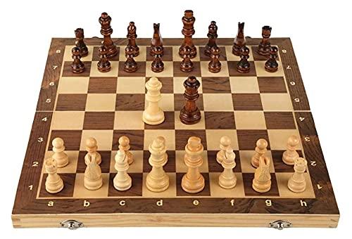PATAWFFF Ajedrez Juego de ajedrez Conjunto de ajedrez de Madera magnético con Tablero de Juego de ajedrez Plegable con Ranuras de Almacenamiento, ajedrez de Viaje para niños y Adultos.