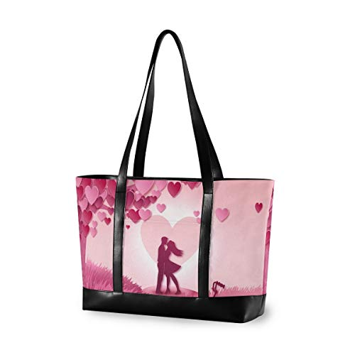 Kissing Couple Meadow Laptop Bag for Women Canvas Messenger Bag Business Office School Computer Bag for 15.6 Inch Laptop & Tablet Professional Large Capacity Briefcase Handbag Shoulder Bag