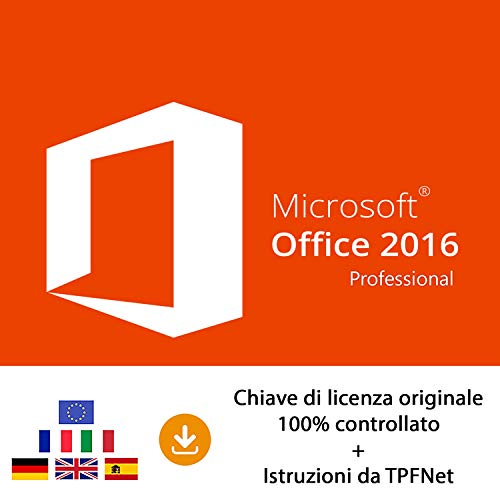 MS Office 2016 Professional Plus 32 bit e 64 bit - Chiave di Licenza Originale per Posta e E-Mail + Guida di TPFNet® - Spedizione max. 60min