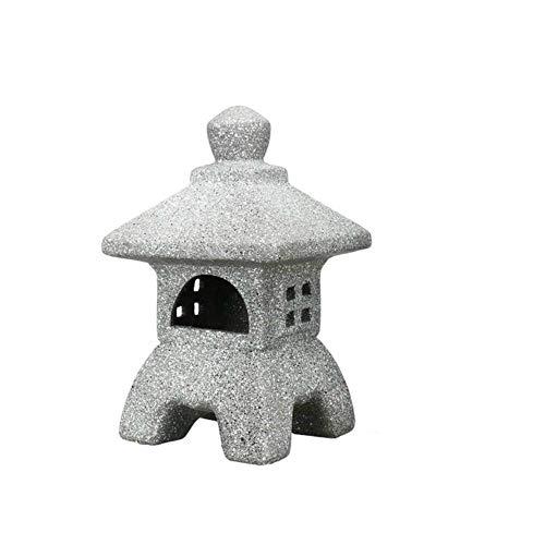 Aomerrt Adorno de jardín de cerámica de Estilo japonés Pagoda Jardín Patio Escultura Linterna Artesanía Candelero Patio Decoración del hogar Casa de té, Patrón 1