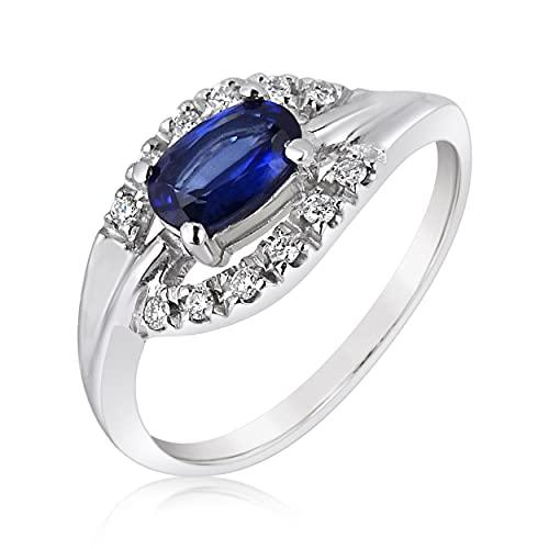 MILLE AMORI ∞ - Anillo de compromiso para mujer, oro y diamante y zafiro natural ∞ oro blanco de 9 quilates 375 diamante 0,06 Kts zafiro 0,50 Kts