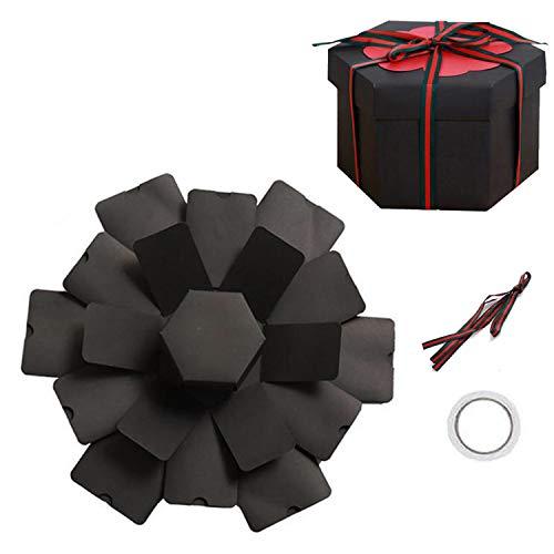 Guizu Geschenkbox,Überraschungsbox,DIY Faltendes Fotoalbum zum Selbstgestalten Scrapbook,DIY Hochzeit Jahrestag Geburtstags Weihnachten Geschenkbox für Hochzeit, Muttertag (Hexagon)