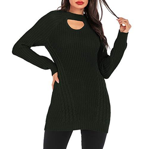 ZHUQI Women Blouse Women Sweater Casual Comfort Elegant Slim Simplicity Knitting Ladies Tops Autumn New Warm Sexy Long Fashion Casual Vacation Women Sweaters B-Green XL