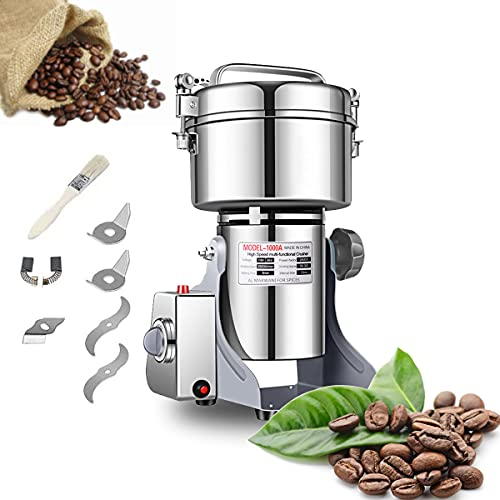 Electric Grain Grinder Mill 1000g High-speed Spice Herb Mill Commercial Powder Machine for Dry Cereals Grain Herb Spice Coffee Corn Bean CE approved (1000g Stand Type)