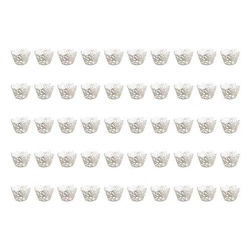 styleinside 50 tazas para tartas, bandeja de papel para tartas nacaradas, diseño de mariposas, hueco, para cupcakes, bandeja para pasteles con encaje