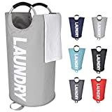 Amazon Brand – Eono 82L Large Laundry Basket with Coin Pocket, Collapsible Fabric Laundry Hamper, Foldable Clothes Bag, Folding Washing Bin- Grey, L