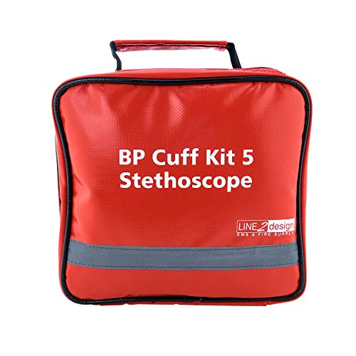 LINE2design Manual BP Cuff Kit 5 Infant Child Adult Large Adult & Thigh - EMS Deluxe Aneroid Sphygmomanometer Blood Pressure Monitor Set + Stethoscope with Carrying Case - Red