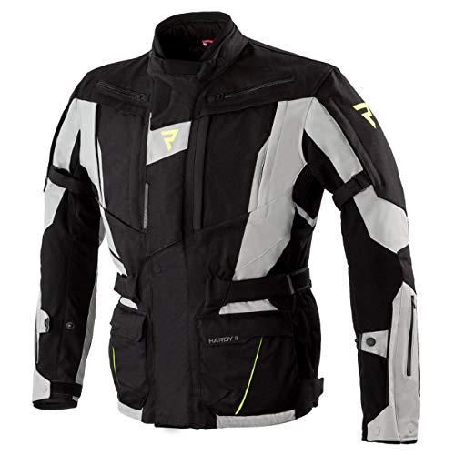 REBELHORN Hardy II Chaqueta para motocicleta de Hombre 3 capas Membrana transpirable impermeable CE-nivel 2 Protectores de hombro y codo Rebel Clima System Elementos reflectantes