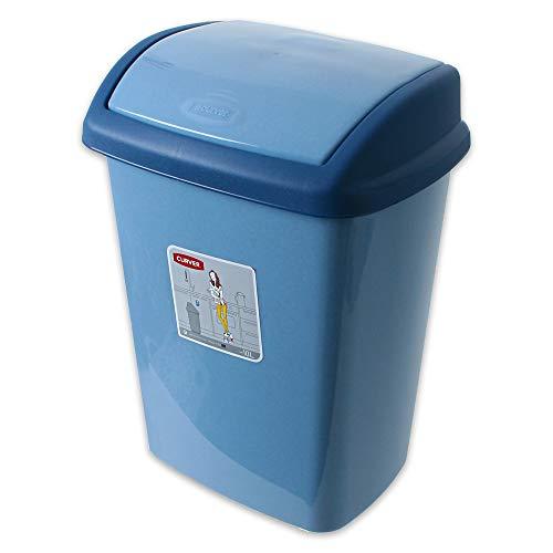 TE-Trend Mülleimer Schwingdeckel 10L Schwingdeckeleimer Abfallbehälter Müllbehälter Deckel Bad Küche Blau