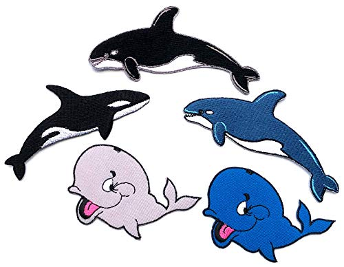 i-Patch - Patches - 0189 - Wal - Delfin - Hai-Fisch - Meeres-Fisch - Raub-Fisch - Meer - Aquarium - Tiere - Zoo - Applikation - Aufbügler - Flicken - Aufnäher - Sticker - Badges - Bügelbild - Kinder