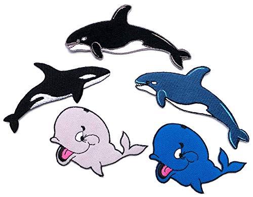 i-Patch – Parches – 0189 – Ballena – delfín – tiburón – Pescado Marino – Peces Depredadores – mar – Acuario – Animales – Zoo – Aplicación – Parche – Parche – Pegatinas – Parche para Planchar – Niños