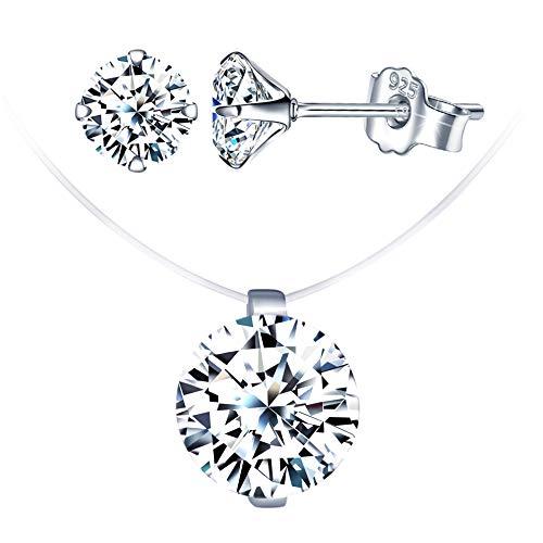 Conjuntos de joyas de diamantes, collar de gargantilla con hilo de pescar...