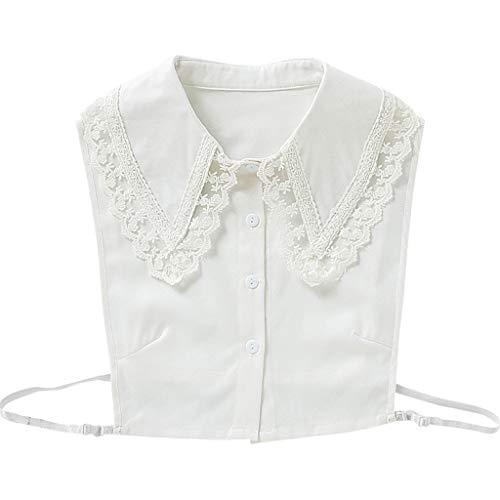 JOYKK Mujer Chica Coreano Falso Falso Collares Falsos Bordado Floral Encaje Puntiagudo Solapa Decorativa Media Camisa Blusa Extraíble - Blanco