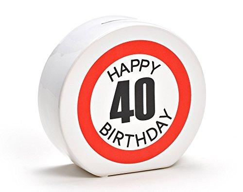 Spardose Geburtstag aus Keramik in 6 Varianten - Happy Birthday 40 - Geldgeschenk zum Geburtstag von WoMa - Weiß/Rot