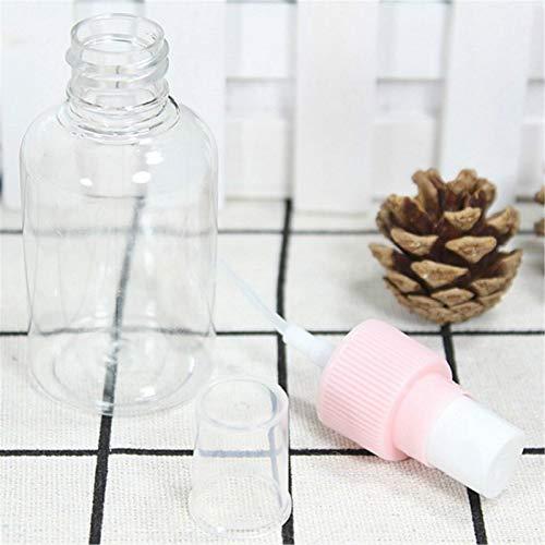LIYANG Botella De Spray Mini Botella de pulverización pequeña de plástico Transparente Transparente para Maquillaje y Cuidado de la Piel Rosa Recargable Uso de Viaje 50ml Botella De Spray Duradera