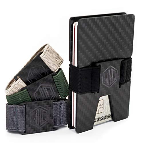 Carbon Fiber Wallet Cash Bands by WidelyQuality RFID Minimalist Slim CardHolder (Black, Carbon Fiber)