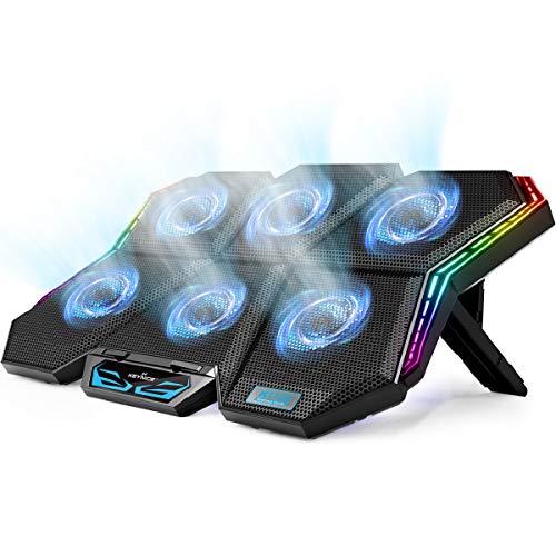 KEYNICE - Tappetino di raffreddamento per computer portatile fino a 17', 6 ventole con luce blu, regolazione di 7 altezze, 2 porte USB e luce LED colorata, supporto 2020