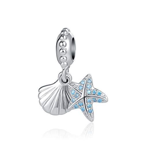 SBI Jewelry Seashell Charm for Bracelets Blue Starfish Dangle Charm Gift for Women Girls Mum Best Friend Birthday