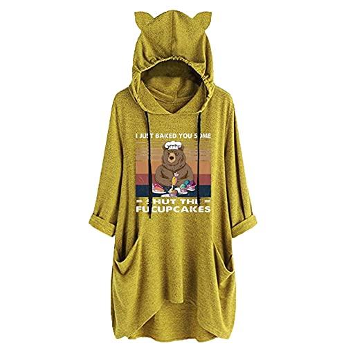 Briskorry Sudadera con capucha para mujer con diseño de gatos, para invierno, grande, grande, con capucha, para adolescentes y niñas, Amarillo-7., S