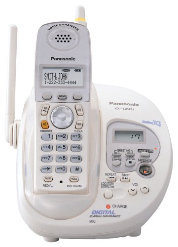 Panasonic GigaRange KX-TG2431W 2.4 GHz DSS Cordless Phone with Caller ID and Answering System (White)