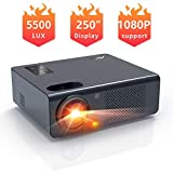 Movie Projector- Artlii Energon 2020 Home Theater Projector with HiFi Stereo and Lens Zooming, 250' Vital Outdoor Projector Support 1080P, Compatible with Fire TV Stick, PS4, HDMI, USB Remote Learning