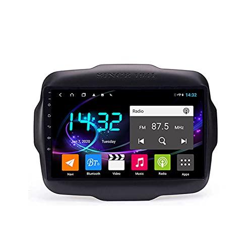 Android 10.0 Car Stereo Sat Nav Radio para Jeep Renegade 2014-2020 Navegación GPS 2 DIN 9 '' Unidad Principal Reproductor Multimedia MP5 Receptor de Video con 4G FM DSP WiFi SWC Carplay
