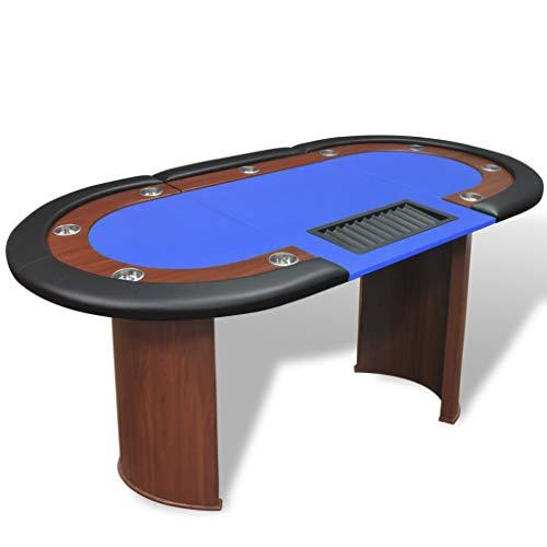 FAMIROSA Pokertisch für 10 Spieler mit Dealerbereich und Chipablage Blau