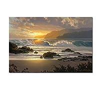 自然の風景のポスター空の海の日の出の絵をキャンバスに印刷家の装飾壁の芸術の写真40x60cmフレームなし