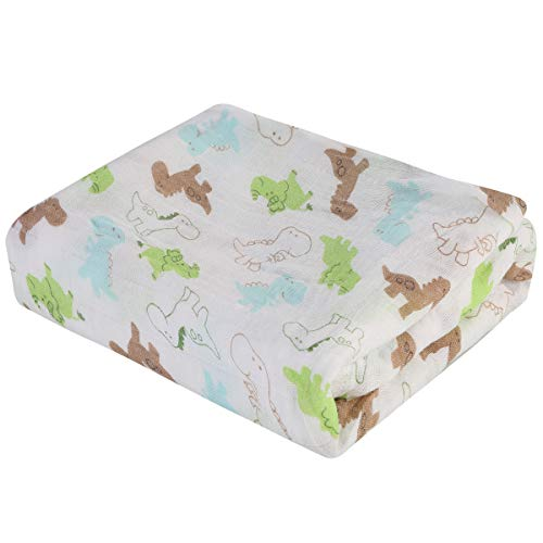 Rehomy Manta de recepción para bebés, 1 manta de bebé con dibujos animados, impresión de animales, para recién nacidos, manta de recepción suave para niños y niñas, 47 x 47 pulgadas (dinosaurio)